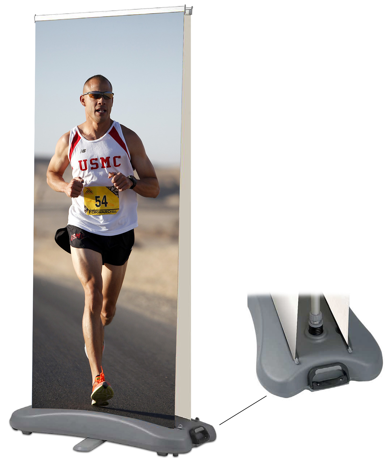 "31.5"" x 80"" Calgary Outdoor double-side rollup banner stand"