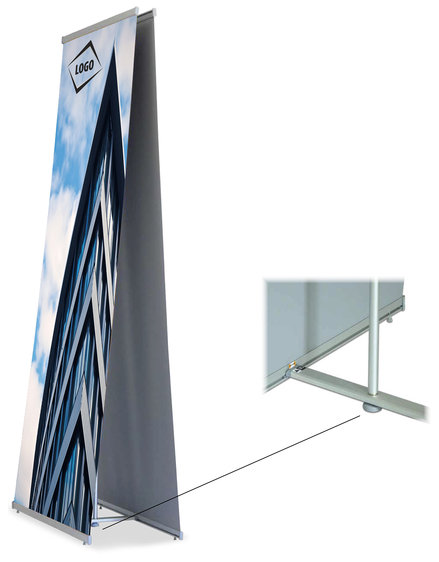 West 2 sides  L banner stand