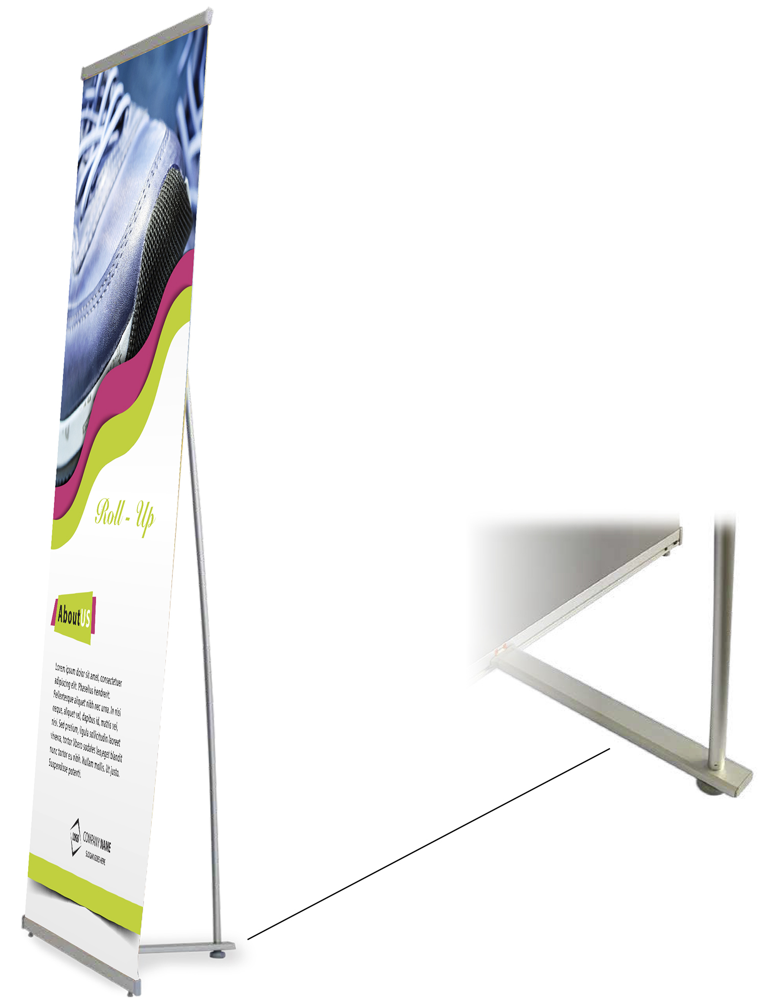 "31,5"" x 80"" West L banner stand"